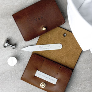 Personalised Collar Stiffeners With Leather Pouch - for him