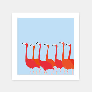 Flamingoes Dance Print Blue