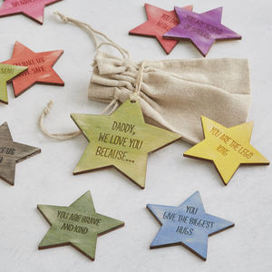 I Love You Because… Personalised Message Star Tokens