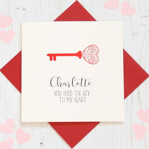Personalised Red Foil 'Key' Card