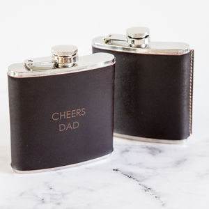 Personalised Leather And Stainless Steel Hip Flask - 3rd anniversary: leather