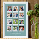 12 images - 23mm white frame - sea blue background