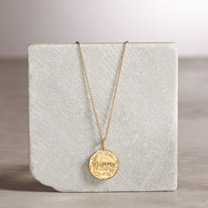 Organic Personalised Disc Necklace With White Sapphire