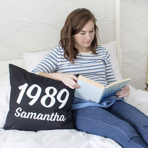 Personalised Name And Year Cushion