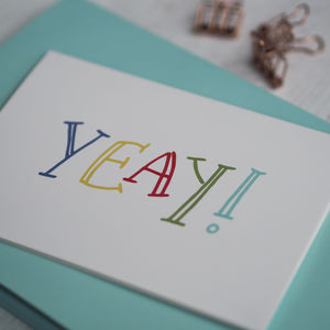 Hand Lettered Yeay Card - congratulations cards