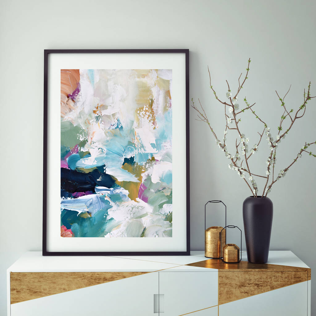large framed abstract art print modern green decor by abstract house ...