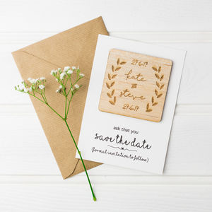 Personalised Laurel Leaf Save The Date Magnets - save the date cards