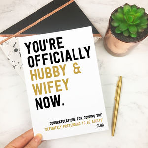 Personalised Funny 'Hubby And Wifey' Wedding Card