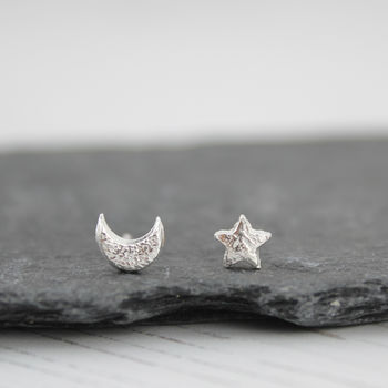 Sterling Silver Mismatch Star And Moon Studs
