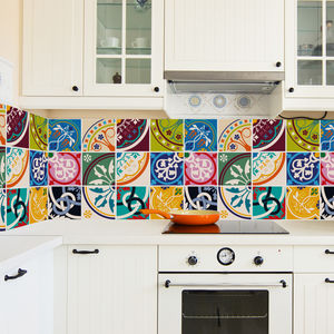 Colourful Moroccan Tile Stickers Set Pack Of 24 - home accessories