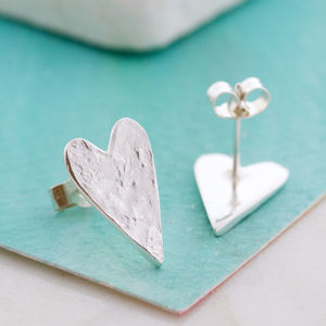 Handmade Silver Textured Heart Large Studs - earrings