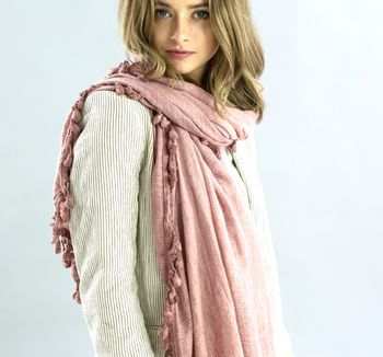 Personalised, Washed Cotton Dusky Pink Pom Pom Scarf