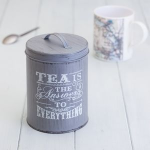 Vintage Tea Caddy Storage Tin - canisters