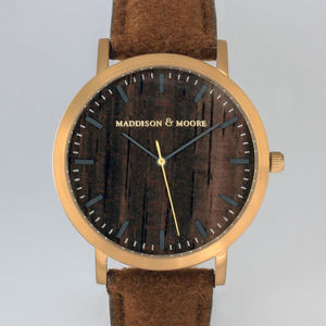 Classic Gold Brown Wool Leather Unisex Wood Watch - watches