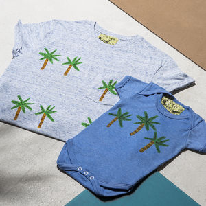 Palm Tree Dad Child/Baby Marl Blue T Shirt Set - gifts for him