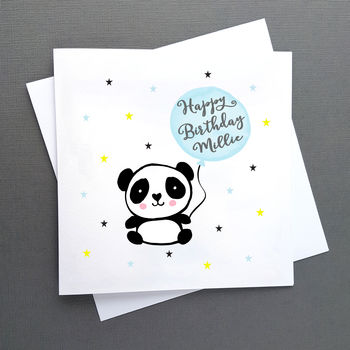 Personalised Birthday Panda Card, Blue Or Pink Balloon