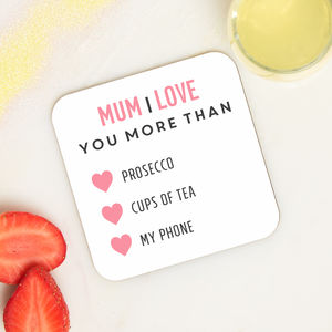 Personalised I Love You More Coaster - placemats & coasters