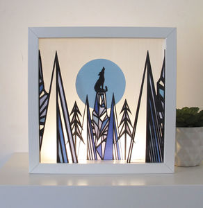 Framed Geometric Wolf Papercut Art