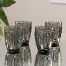 Set Of Four Vintage Embossed Coloured Tumblers