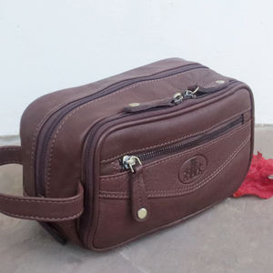 Handmade Premium Leather Wash Bag - wash & toiletry bags