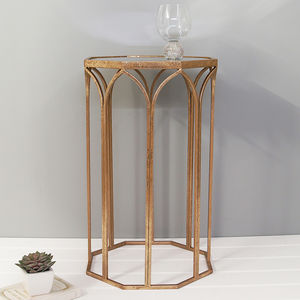 Octagonal Copper Side Table With Mirror Top - side tables