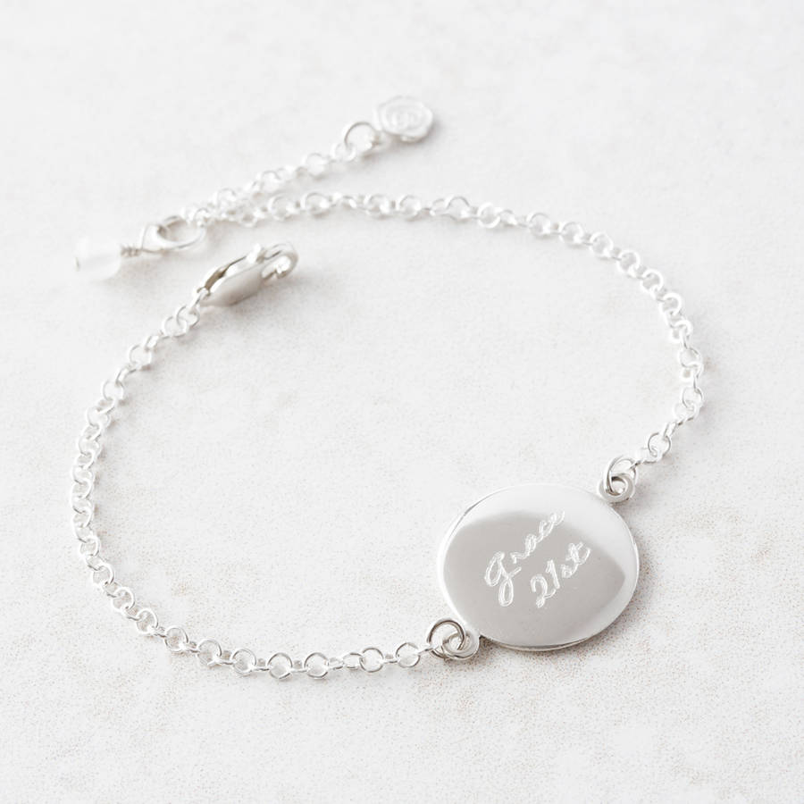 Personalised Engraved Disc Bracelet