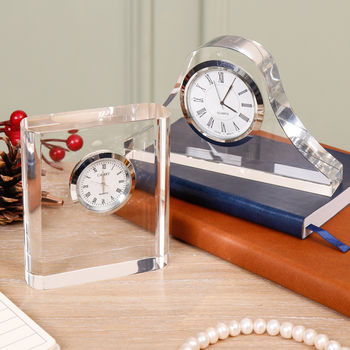 Personalised Clear Acrylic Desk Clock Selection