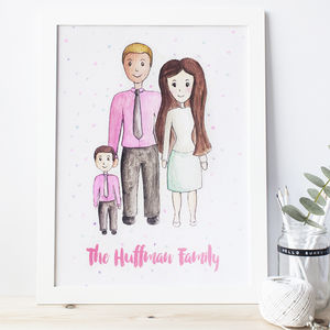Personalised Watercolour Family Portrait - people & portraits
