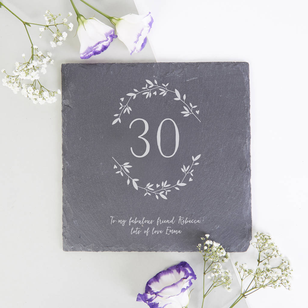 30th Birthday Gift Botanical Slate Serving Board 40th