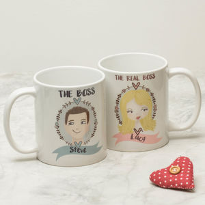 Personalised Illustrated Couple Mugs - mugs