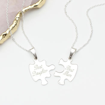 Personalised Sterling Silver Jigsaw Necklace Set