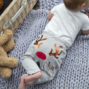 Personalised First Christmas Reindeer Baby Leggings - baby's first christmas