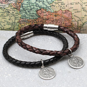 Personalised Silver St Christopher And Leather Bracelet