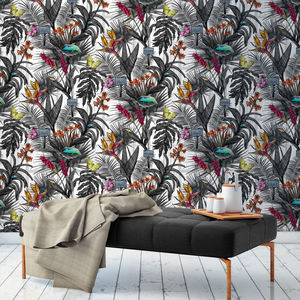 Glasshouse Grey Botanical Wallpaper