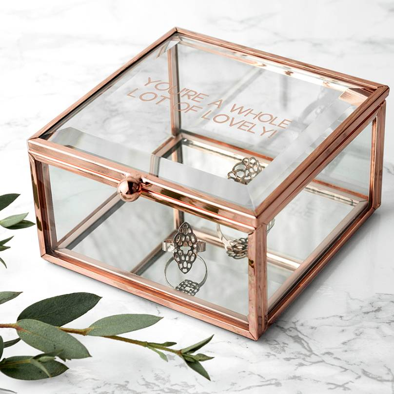 rose gold bevelled glass personalised jewellery box by letteroom