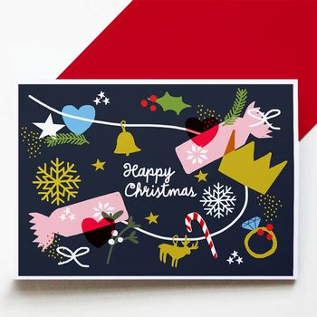 Set Of Eight Cracker Christmas Cards