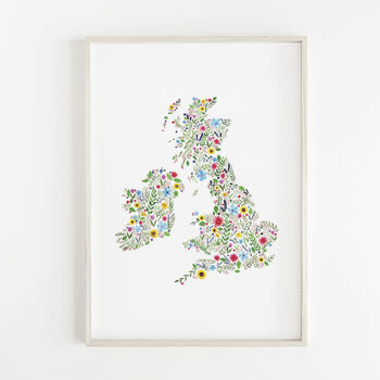 Floral Map Of The British Isles Print