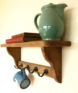 Country Cottage Open Back Shelf With Metal Cup Holders - home decorating