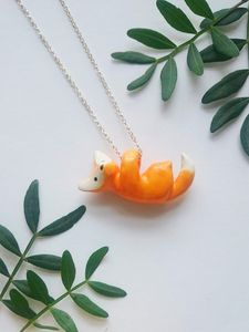 "Fox Porcelain Pendant On 18"" Sterling Silver Chain"