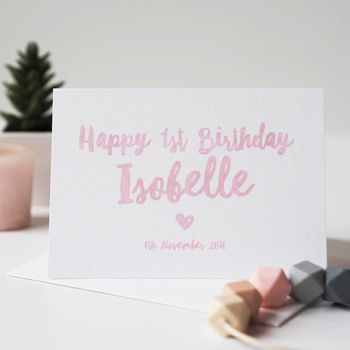 Happy 1st Birthday Personalised Card