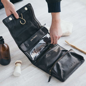 Leather Hanging Wash Bag - 3rd anniversary: leather