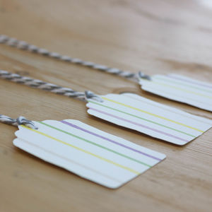 10 Striped Gift Tags With Bakers Twine