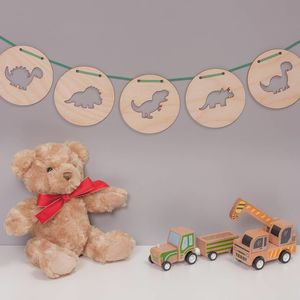 Children's Birch Wood Round Dinosaur Bunting