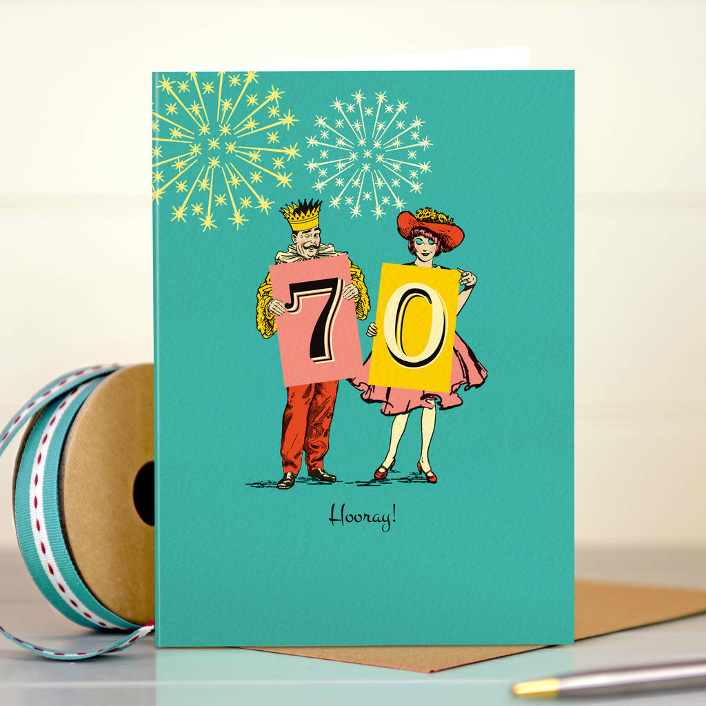 Funny 70th Birthday Card 70 Hooray
