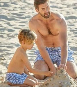 Father And Son Ice Blue Seagulls Swimming Trunks