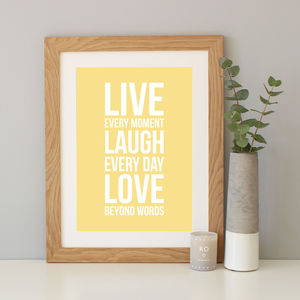 'Live, Laugh, Love' Quote Print - typography