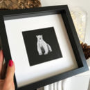 Framed Polar Bear Print With Silver Glitter