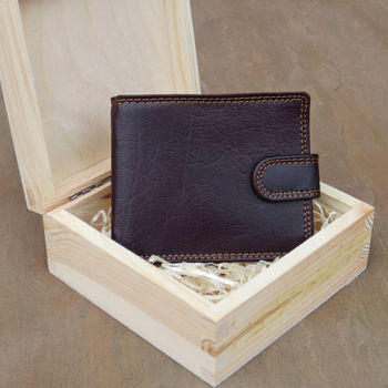 Handmade Rfid Leather Wallet In A Pine Wood Gift Box