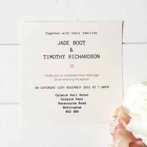 Simply Sweetheart Wedding Evening Invitation - invitations