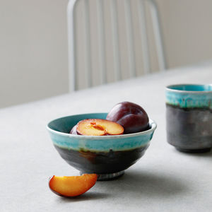 Glazed Iridescent Style Watercolour Bowl - kitchen